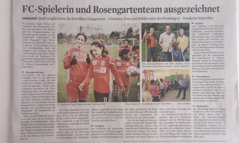 Artikel des Kölner Stadt-Anzeigers zu dem Sonderpreis der Stadt Köln